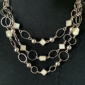 Three tier necklace with ivory beads